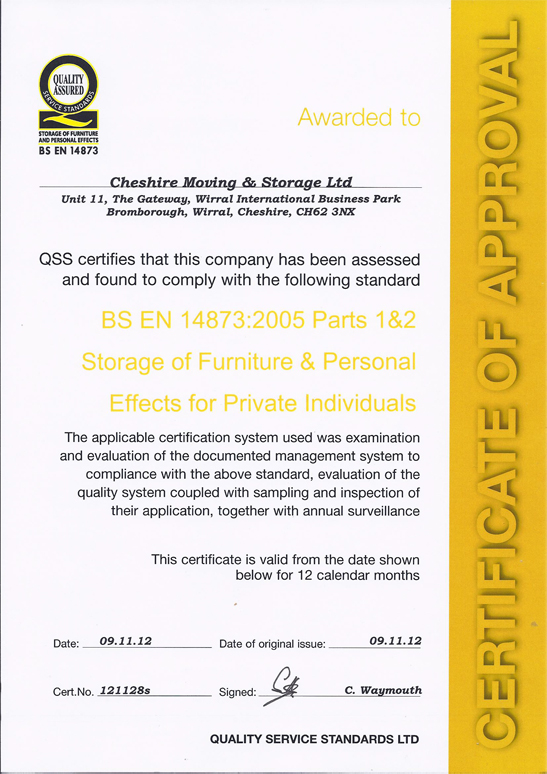 Cheshire Moving & Storage BS EN 14873